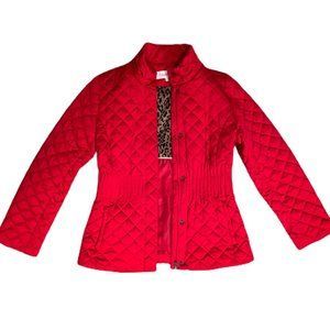 CALVIN KLEIN Red Quilted Cheetah Lining Zip Jacket